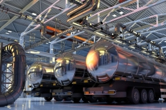 54734313 - trucks with fuel in the hangar.